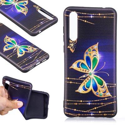 Huawei P20 Pro hoesje, gel case met print, gouden vlinder