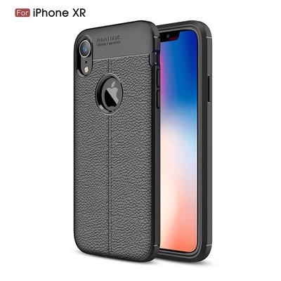 Apple iPhone XR hoesje, gel case leder look, zwart