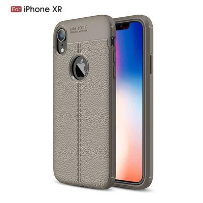 Apple iPhone XR hoesje, gel case leder look, grijs