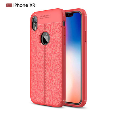 Apple iPhone XR hoesje, gel case leder look, rood