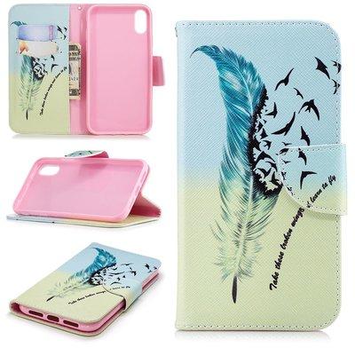 Apple iPhone XR hoesje, 3-in-1 bookcase met print, veer en vogels