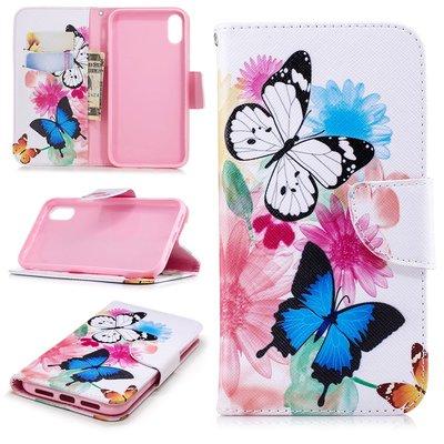 Apple iPhone XR hoesje, 3-in-1 bookcase met print, vlinders
