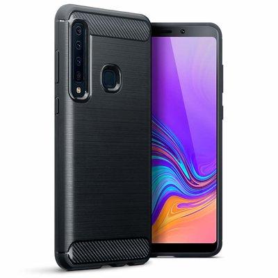 Samsung Galaxy A9 (2018) hoesje, gel case carbon look, zwart