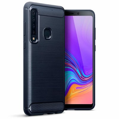 Samsung Galaxy A9 (2018) hoesje, gel case carbon look, navy blauw
