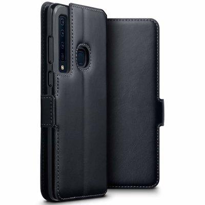 Samsung Galaxy A9 (2018) hoesje, MobyDefend slim-fit echt leren bookcase, Zwart