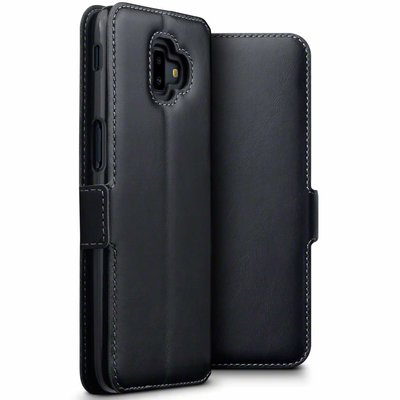 Samsung Galaxy J6 Plus hoesje, MobyDefend slim-fit echt leren bookcase, Zwart