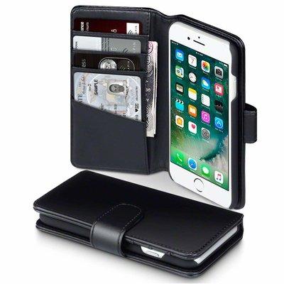 Apple iPhone 7 / iPhone 8 hoesje, MobyDefend luxe echt leren bookcase, Zwart