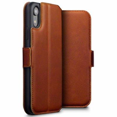 Apple iPhone XR hoesje, MobyDefend slim-fit echt leren bookcase, Cognac bruin