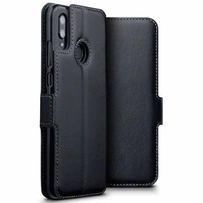 Huawei P Smart (2019) hoesje, MobyDefend slim-fit echt leren bookcase, Zwart