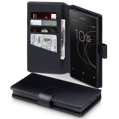 Sony Xperia XZ1 hoesje, echt lederen 3-in-1 bookcase, zwart