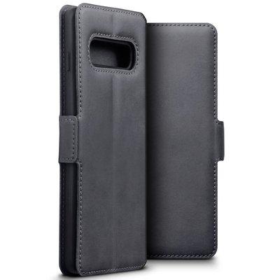 Samsung Galaxy S10 hoesje, MobyDefend slim-fit echt leren bookcase, Grijs