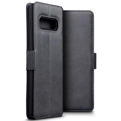 Samsung Galaxy S10 Plus (S10+) hoesje, MobyDefend slim-fit echt leren bookcase, Grijs
