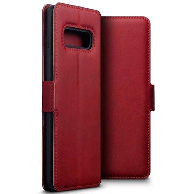 Samsung Galaxy S10 Plus (S10+) hoesje, MobyDefend slim-fit echt leren bookcase, Rood