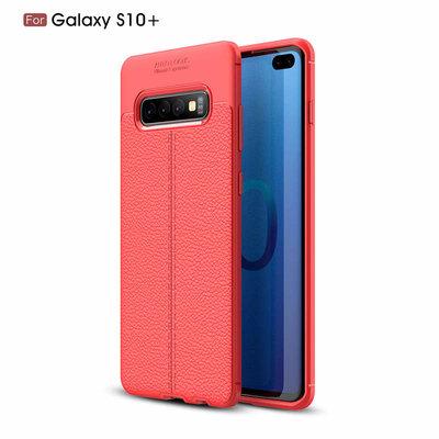 Samsung Galaxy S10 Plus (S10+) hoesje, gel case lederlook, rood
