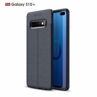 Samsung Galaxy S10 Plus (S10+) hoesje, gel case lederlook, navy blauw