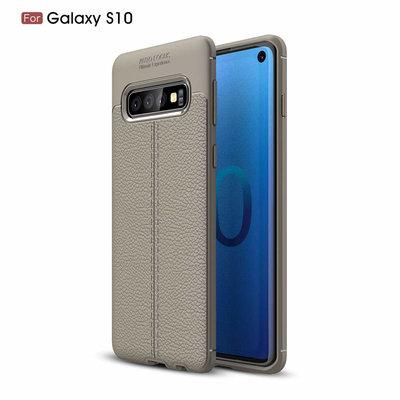 Samsung Galaxy S10 hoesje, gel case lederlook, grijs