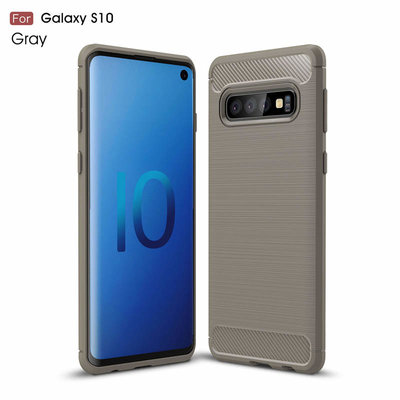 Samsung Galaxy S10 hoesje, gel case carbonlook, grijs