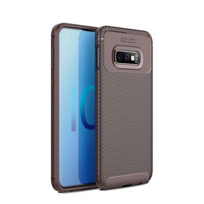 Samsung Galaxy S10 hoesje, gel case carbonlook, bruin