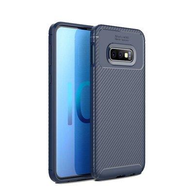 Samsung Galaxy S10E hoesje, gel case carbonlook, navy blauw