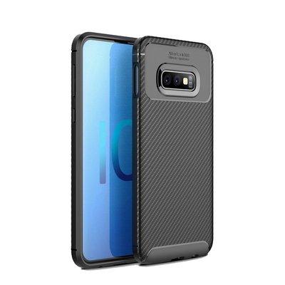 Samsung Galaxy S10E hoesje, gel case carbonlook, zwart