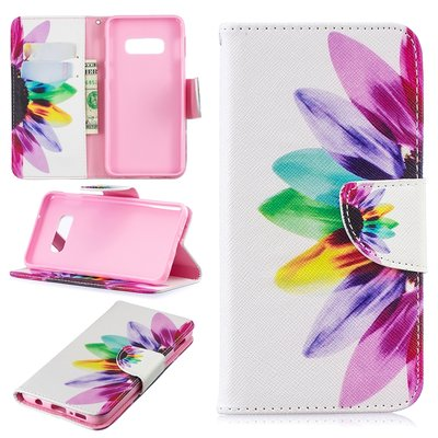 Samsung Galaxy S10E hoesje, 3-in-1 bookcase met print, gekleurde bloem