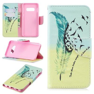 Samsung Galaxy S10E hoesje, 3-in-1 bookcase met print, veer en vogels