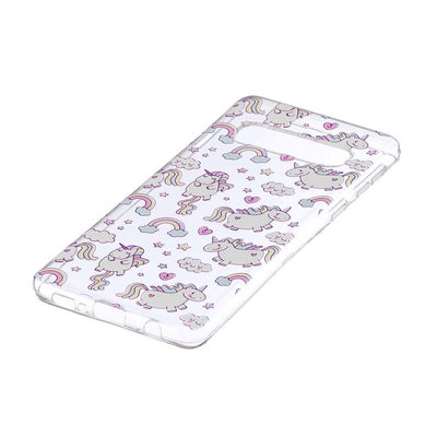 Samsung Galaxy S10 Plus (S10+) hoesje, gel case doorzichtig met print, unicorns en wolken