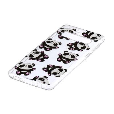 Samsung Galaxy S10 Plus (S10+) hoesje, gel case doorzichtig met print, panda's