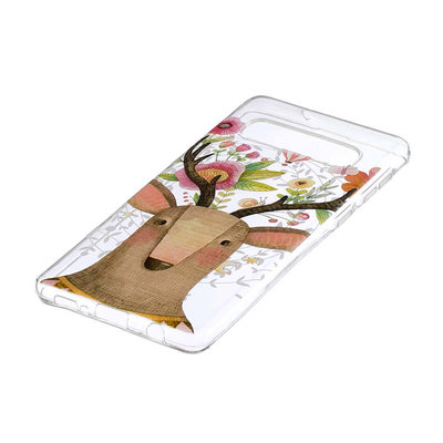 Samsung Galaxy S10 Plus (S10+) hoesje, gel case doorzichtig met print, dier met gewei