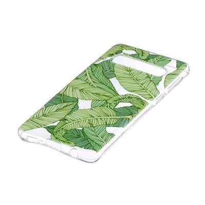 Samsung Galaxy S10 Plus (S10+) hoesje, gel case doorzichtig met print, groene blaadjes