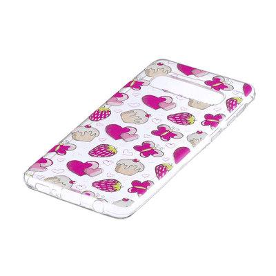 Samsung Galaxy S10 Plus (S10+) hoesje, gel case doorzichtig met print, aardbeien en gebakjes