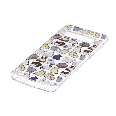 Samsung Galaxy S10 Plus (S10+) hoesje, gel case doorzichtig met print, katten