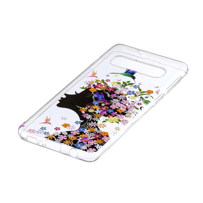 Samsung Galaxy S10 Plus (S10+) hoesje, gel case doorzichtig met print, vrouw met bloemen