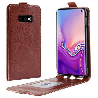 Samsung Galaxy S10E hoesje, flipcase, bruin