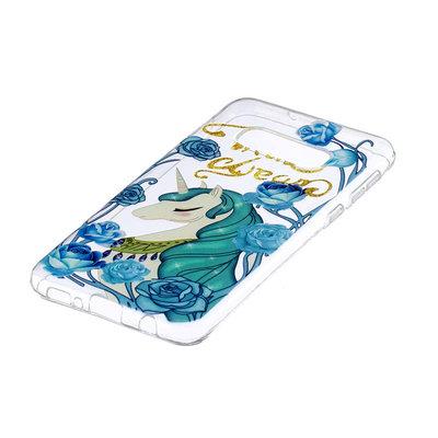 Samsung Galaxy S10E hoesje, gel case doorzichtig met print, unicorn, blauw