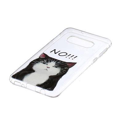 Samsung Galaxy S10E hoesje, gel case doorzichtig met print, kat