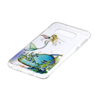 Samsung Galaxy S10E hoesje, gel case doorzichtig met print, zeemeermin