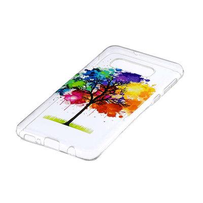 Samsung Galaxy S10E hoesje, gel case doorzichtig met print, gekleurde boom