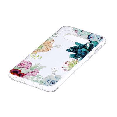 Samsung Galaxy S10E hoesje, gel case doorzichtig met print, gekleurde bloemen
