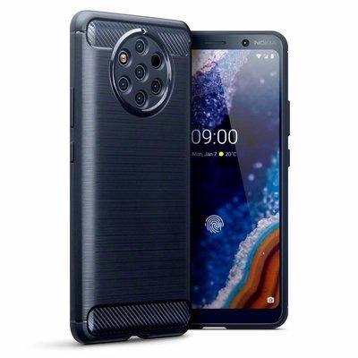Nokia 9 PureView hoesje, gel case carbonlook, navy blauw