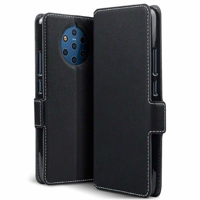 Nokia 9 PureView hoesje, MobyDefend slim-fit extra dunne bookcase, Zwart