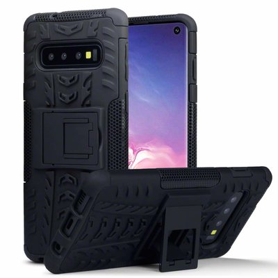 Samsung Galaxy S10 hoesje, Pantsercase met standaard, zwart