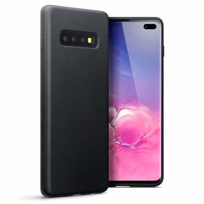 Samsung Galaxy S10 Plus (S10+) hoesje, gel case, mat zwart