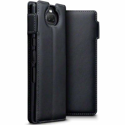 Sony Xperia 10 hoesje, MobyDefend slim-fit echt leren bookcase, Zwart