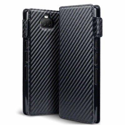 Sony Xperia 10 hoesje, MobyDefend slim-fit carbonlook bookcase, Zwart