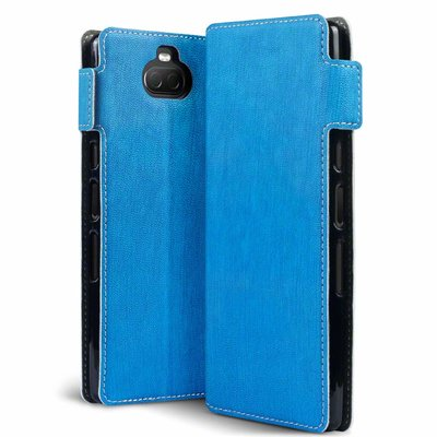 Sony Xperia 10 hoesje, MobyDefend slim-fit extra dunne bookcase, Blauw