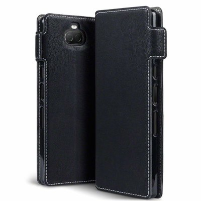 Sony Xperia 10 hoesje, MobyDefend slim-fit extra dunne bookcase, Zwart