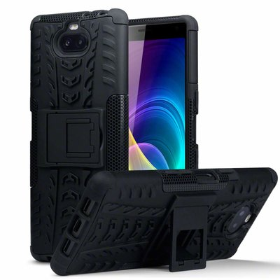 Sony Xperia 10 hoesje, Pantsercase met standaard, zwart