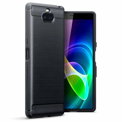 Sony Xperia 10 hoesje, gel case carbonlook, zwart
