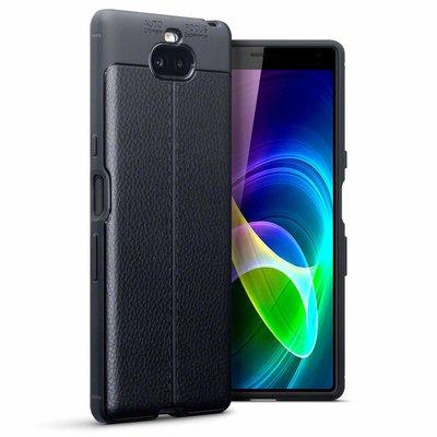 Sony Xperia 10 hoesje, gel case lederlook, zwart